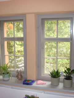 außen historisches Einfachfenster - innen Kastenfenster mit dünnem Isolierglas